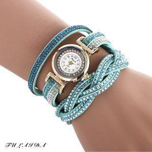 Women Quartz Rhinestone Bracelet Wristwatch Blue